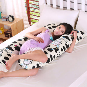 Black White Cow Design Pregnant Pillow 75*135cm Removable Cotton Pregnancy Pillow Comfortable
