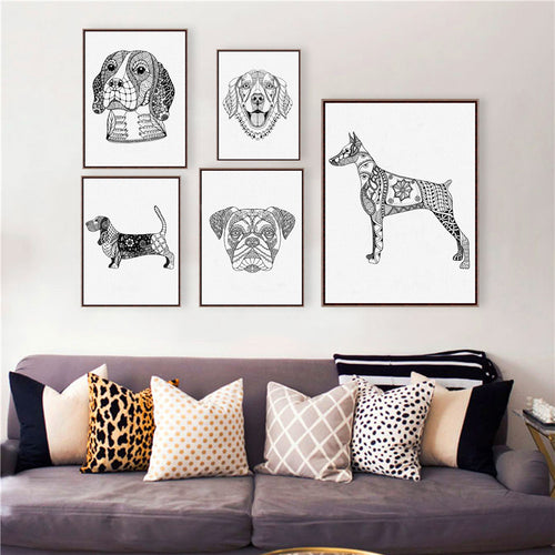 Golden Retriever Wall Art Prints Poster , Bulldog / Beagle / Boxer Dog