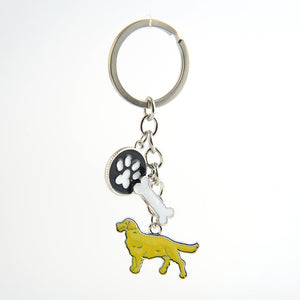 Golden Retriever/ French Bulldog keychain key rings silver color