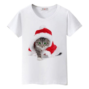 Christmas cat t shirt women/girl favourite lovely