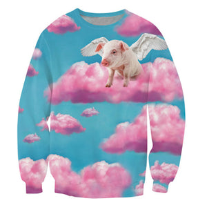 Sweatshirts women/men When Pigs Fly 3d