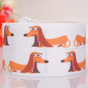 "5 yards 7/8 "" 22 mm cute Dachshund dog print grosgrain tape ribbon"