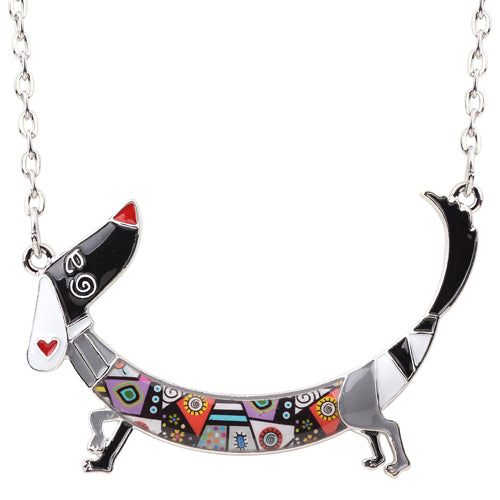 Dachshund Dog Necklace Pendant Jewelry multicolor