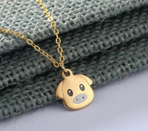 Gold Sliver Color Stainless Steel Necklace Lovely Pig