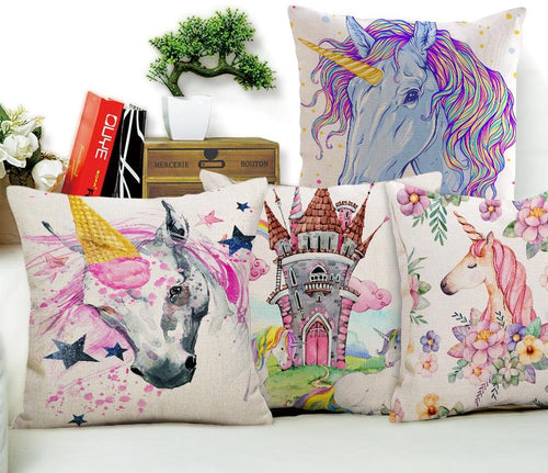 Cartoon Style Unicorn Patterns Cotton Linen Cushion Cover Pillowcase