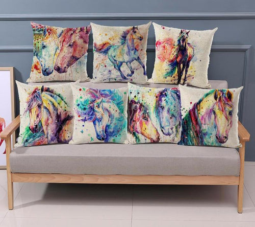 Pillow Case Watercolor Horse
