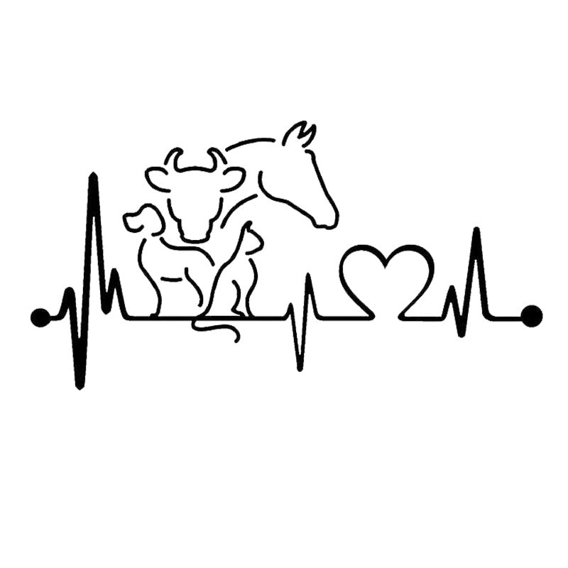 20 10 6cm Dog Cat Horse Cow Heartbeat Funny Animal Car Sticker Black