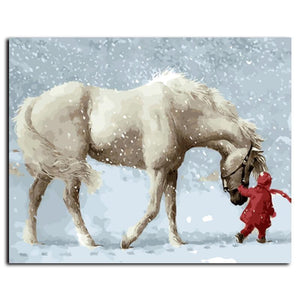 Pictures Painting By Numbers DIY Digital Canvas Oil Painting Horse In Winter