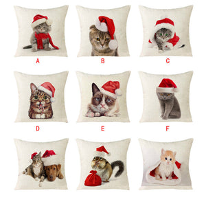Christmas Cat Sofa Home Decoration Festival Pillowcase Cushion