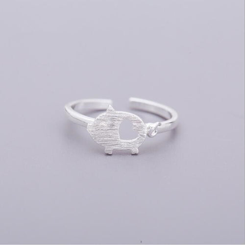 Silver Heart And Pig Ring
