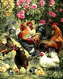 Frameless arrival Digital Oil Painting On Canvas painting by numbers picture Garden play chickens
