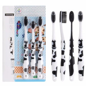 3PCS Cute Cow Bamboo Charcoal Soft Toothbrush Oral Dental Care