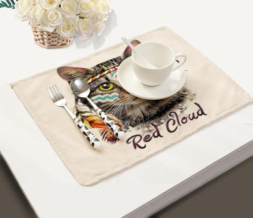 Linen  Table Placemat Cat Meow Pattern Home Accessories Kitchen Drink Coasters