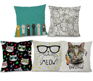 Cotton Linen Square Cute Cat Pattern Sofa Throw Pillow case Cushion Cover