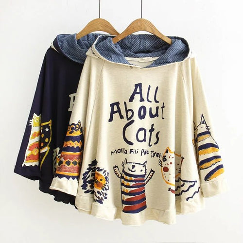 Hoodies Hooded Loose Print Cat 2 Colour Tops Cute Warm