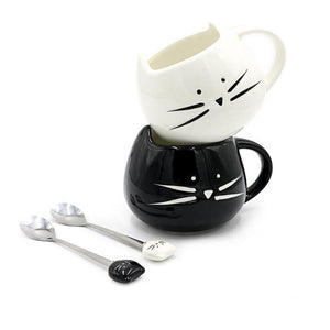 Ceramic Coffee Cute Cat Mug with Spoon