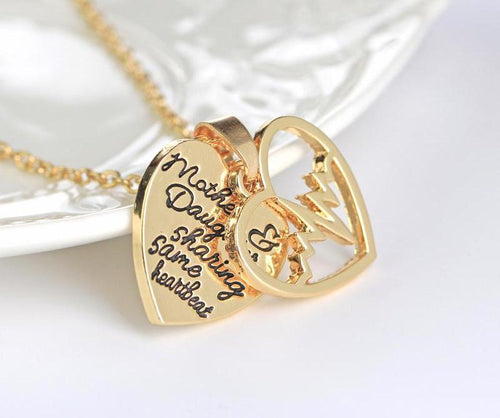 Mother Daughter Sharing Same Heartbeat - Double Hollow Heart Necklace  Mothers Day Gift