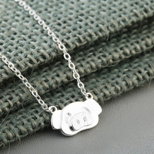 Cute Pig  925 Sterling Silver Necklace Pendant