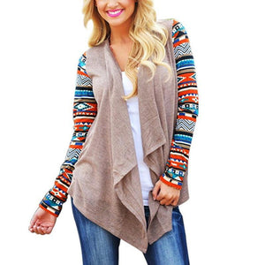 Women Long Sleeve Knitted Poncho Sweater Coat Tribal Print Asymmetrical