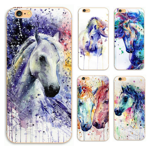 Watercolor horses Phone Hard Plastic Case Cover For iPhone