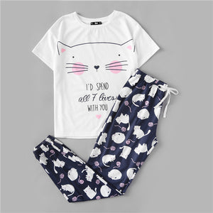 Cute Sleepwear Cat Print Short Sleeve Round Neck White Tee and Blue Pants Pajama Set