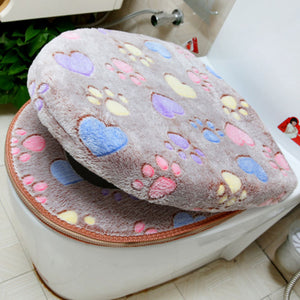 Velvet luxury toilet Seat Cover Set soft Warm - love cat