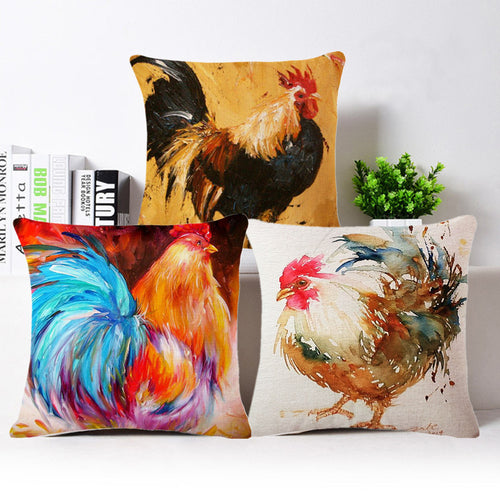 Vintage Color Cock Cushion Cover