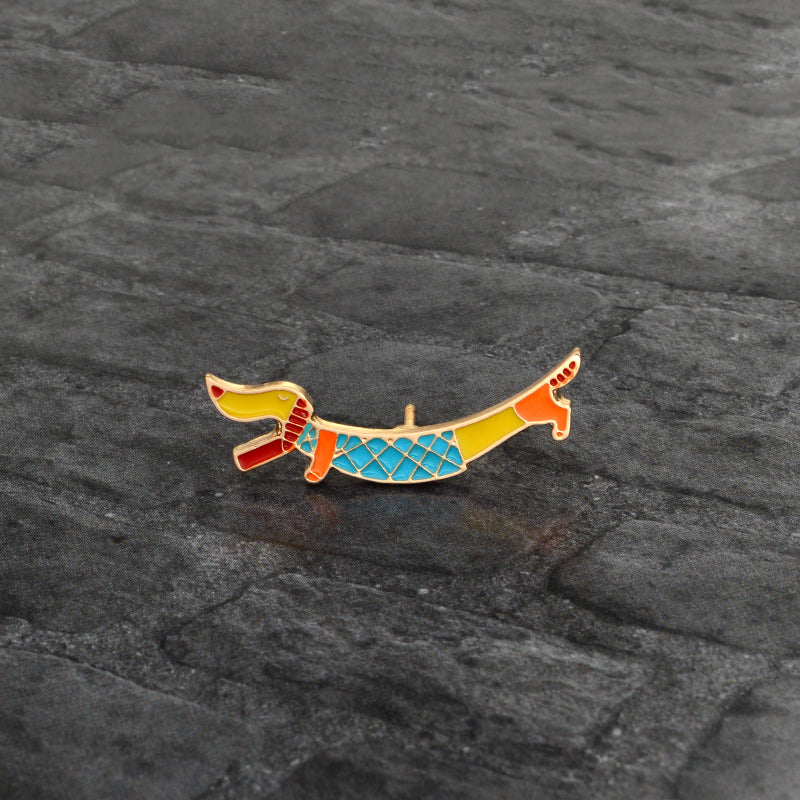 Dachshund Colorful Animal Icon Badge Jewelry