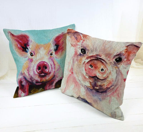 Oil Painting Pig Lovely  Cushion Cover