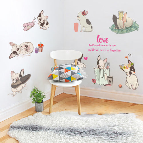 Lovely french bulldog wall stickers home decor