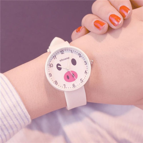 Lovely Women Quartz Wristwatches cute Pig Face