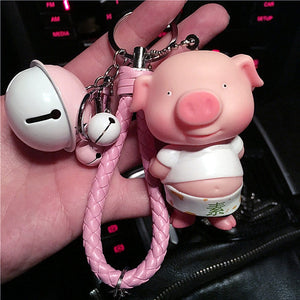 Hot Cute Pig Keychain Fur Pompom Porte Clef Leather Rope Accessories