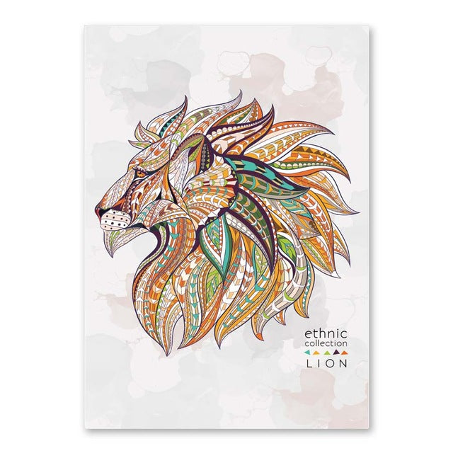 Abstract Animals Head Deer Horse Elephant Lion Eagle A4 Canvas