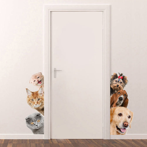 Dogs Cats 3D Wall Sticker Funny Door Window