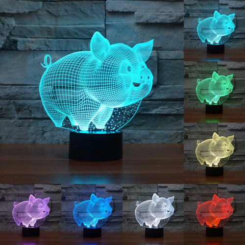 Light Pig 3D lamp-Touch Swith Colorful 7 Color change
