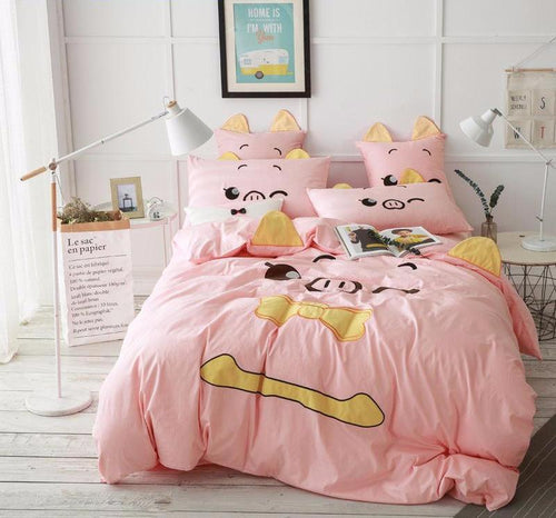 pink pig bedding set