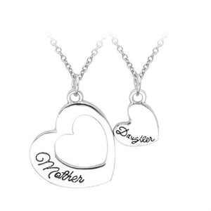 2PCS Vintage Heart Mother Daughter Pendant Necklace Mother's Day