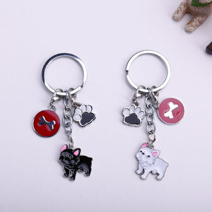 New Diy French Bulldog Key Chain Dogs gift Jewelry Women