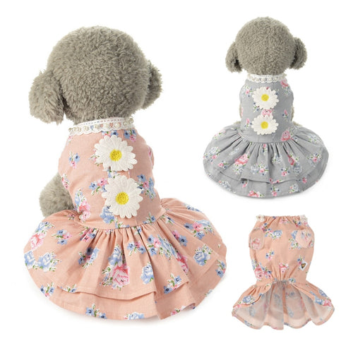 Cotton Clothes for Dog Print Flower Skirt Poodle Dress