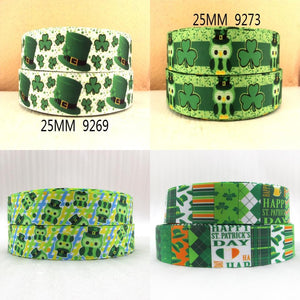 "1""(25mm) st patricks day high quality printed polyester ribbon 10 yards"