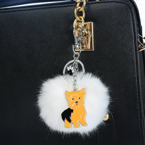 Yorkshire Terrier Bag Charm Keyring Car Keychain