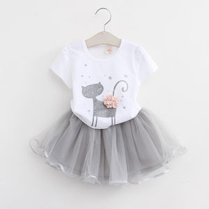 Kid Girls Dress Style Cartoon Cat Cute
