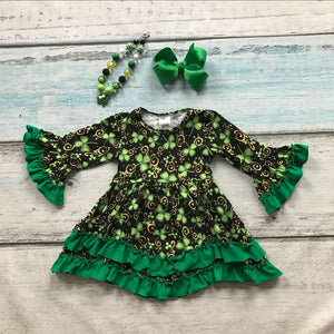 St Patrick outfits girls Shamrock dress with accessoreis