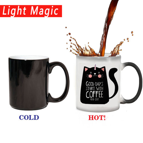 Cute Cat Magic Mug Color Change Ceramic