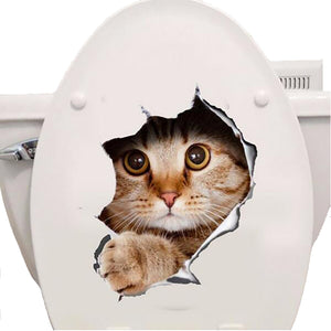 Cats 3D Wall Sticker Toilet Stickers Hole View  Bathroom Home Decoration