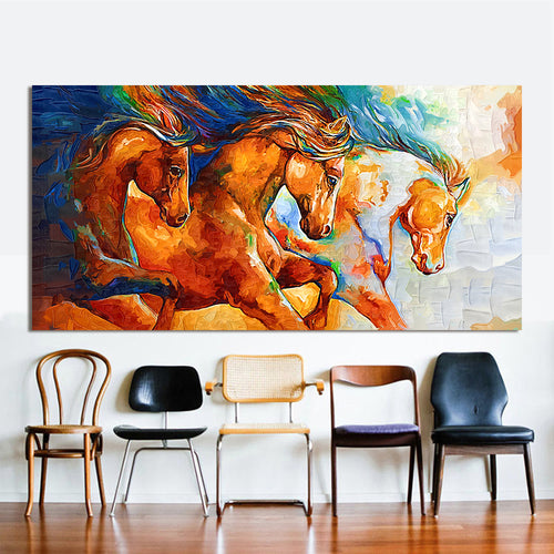 Wall Art Canvas printed Colorful Running Horse 3 - No Frame