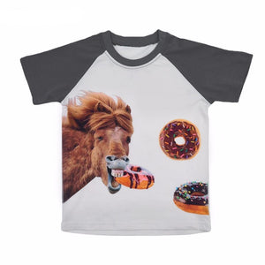 Kids Boys Girls Cotton Tshirt Horse/Donut