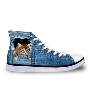3D cute cat - High Top Canvas Shoes for Women