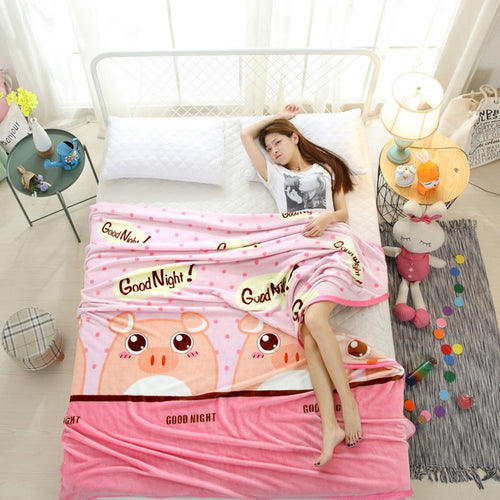 Pink Pig Cartoon Blankets On The Bed