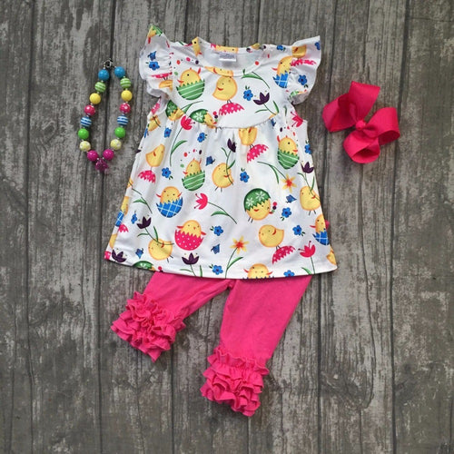 Baby girls outifts floral clothes hot pink ruffle capris cotton sets with match accessories kid